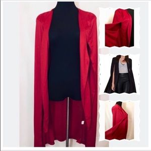 Jackets & Blazers - Red Split Sleeve Red Vest Cape New